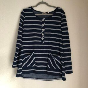Soft Surroundings Navy Striped Cozy Top Size M